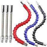 Flexible Drill Bit Extension Kits, DaKuan Fabulous 6 Pcs Flexible Socket Extension Cable and Screwdriver Soft Shafts Set, Universal Drill Connectors, Flex Bar Tools