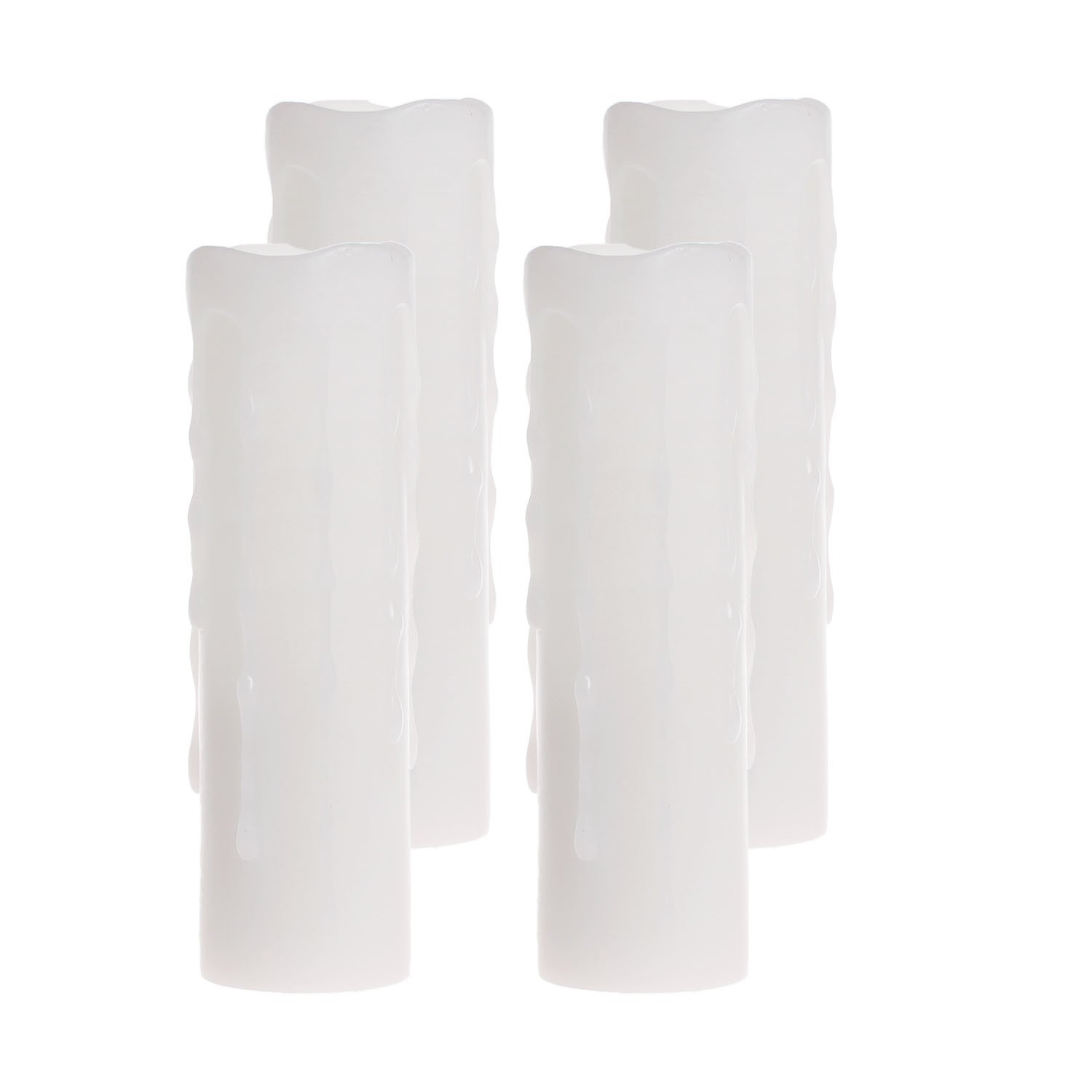 GiveULed Candles, Flickering Flameless Pillar Wax Candle with Timer,1.75x6 Inches,White,Pack of 4