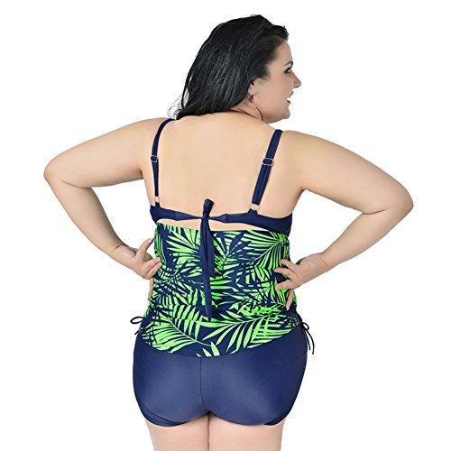 EFINNY Damen überdimensionale Badeanzug Blumenbadebekleidung zwei Stück plus Größe Slip Badeanzug Grün VOPn2