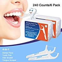 Hapree 240 Count Dental Floss Picks with Travel Handy Cases, Multifunction Include Toothpick Floss, Tooth Picker, Interdental Brush, Tongue Scraper, FDA Approved (6 boxes)