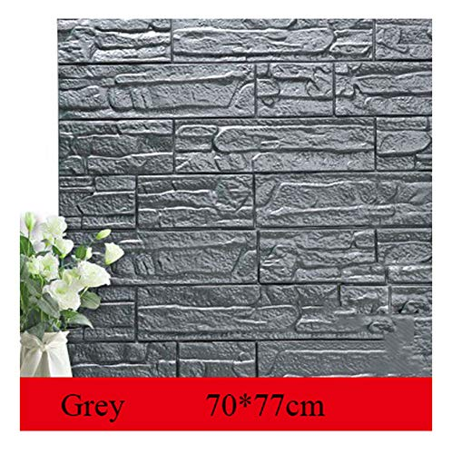wing 7077cm DIY 3D Brick PE Foam Wallpaper Panels Room Decal Stone Decoration Embossed DIY Self Adhensive 3D Brick Wall Stickers,Grey