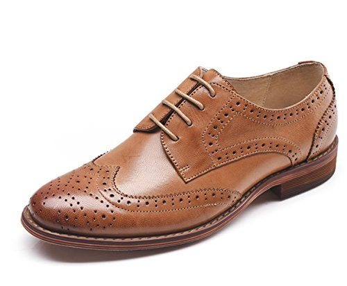 U-lite Women's Perforated Lace-up Wingtip Pure Color Leather Flat Oxfords Vintage Oxford Shoes (10, Brown)