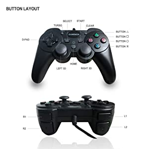 GAMEMON Double Shock Wired Controller Compatible with PLAYSTATION 3 PS3 with 10FT/3M Long Cable (Color: black)