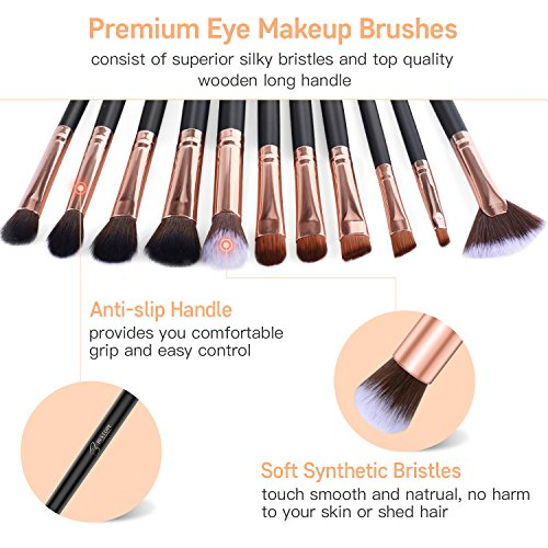 BESTOPE Eye Makeup Brushes, 16 Pieces Professional Cosmetics Makeup Brush Set, Eye Shadow, Concealer, Eyebrow, Foundation, Powder Liquid Cream Blending Make Up Brushes with Premium Wooden Handles
