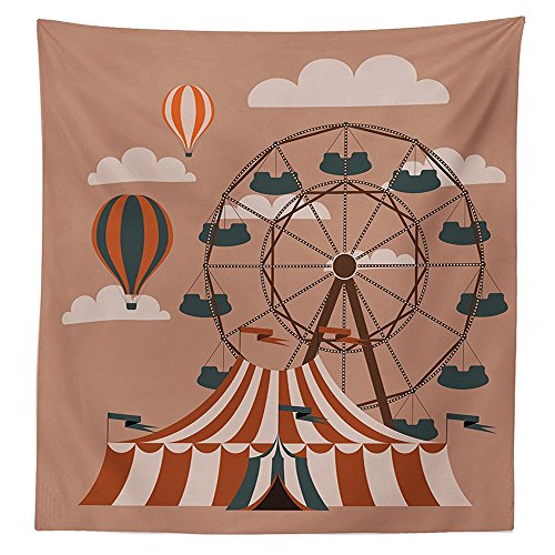 Circus Decor Tablecloth Ferris Wheel Flying Hot Air Balloons Sky Clouds Fun Holiday Themed Illustration Dining Room Kitchen Rectangular Table (Candyland Themed Balloons)