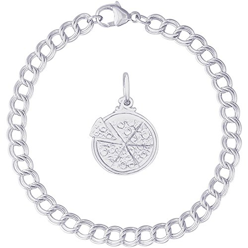Rembrandt Charms Sterling Silver Pizza Charm on a Double Link Bracelet, 8