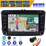 7 Inch Car Radio Touch Screen Double Head Unit Car Receiver Stereo in Dash GPS Navigation with Bluetooth CD DVD for Volkswagen VW Passat Golf MK5 Jetta Tiguan T5 Skoda Seat with Backup Camera -  FOIIOE
