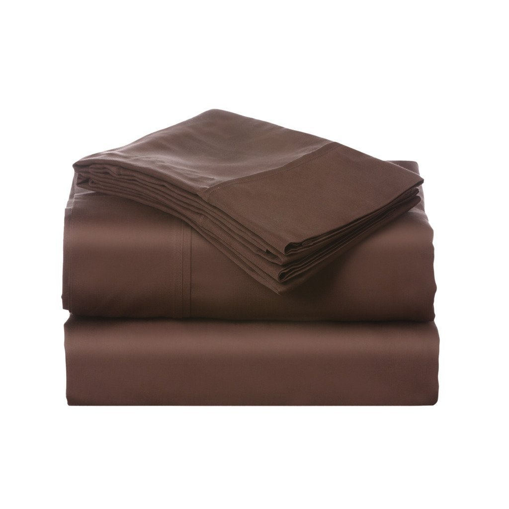 Luxury Designs Sateen Weave 400 Thread Count 4-Piece Cotton Queen Bed Sheet Set, Chocolate