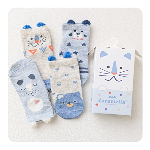 Huluwa Baby Socks 4 Pack Unisex Newborn Cartoon Soft Cotton Socks, Breathable and Anti-Skid, Blue