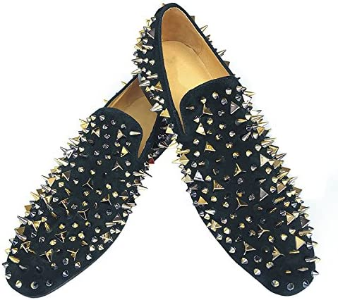 Details about  /Men/'s Spikes Loafers Dress Shoes Leather Slippers Slip-on Flats