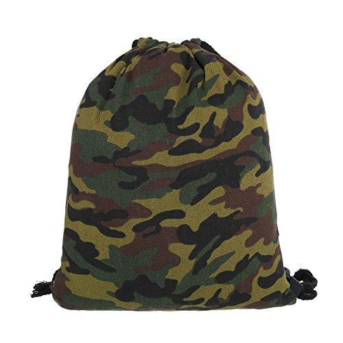 Ital-Design - Bolso mochila  de Lona para mujer Grün Multi