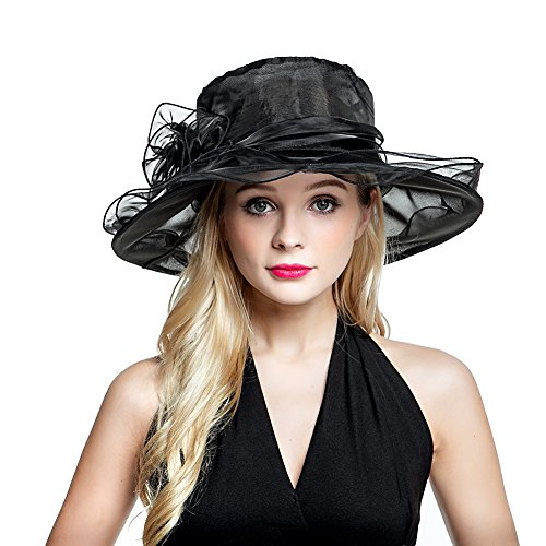 Women's Organza Church Derby Fascinator Cap Kentucky Tea Party Wedding Hat Black