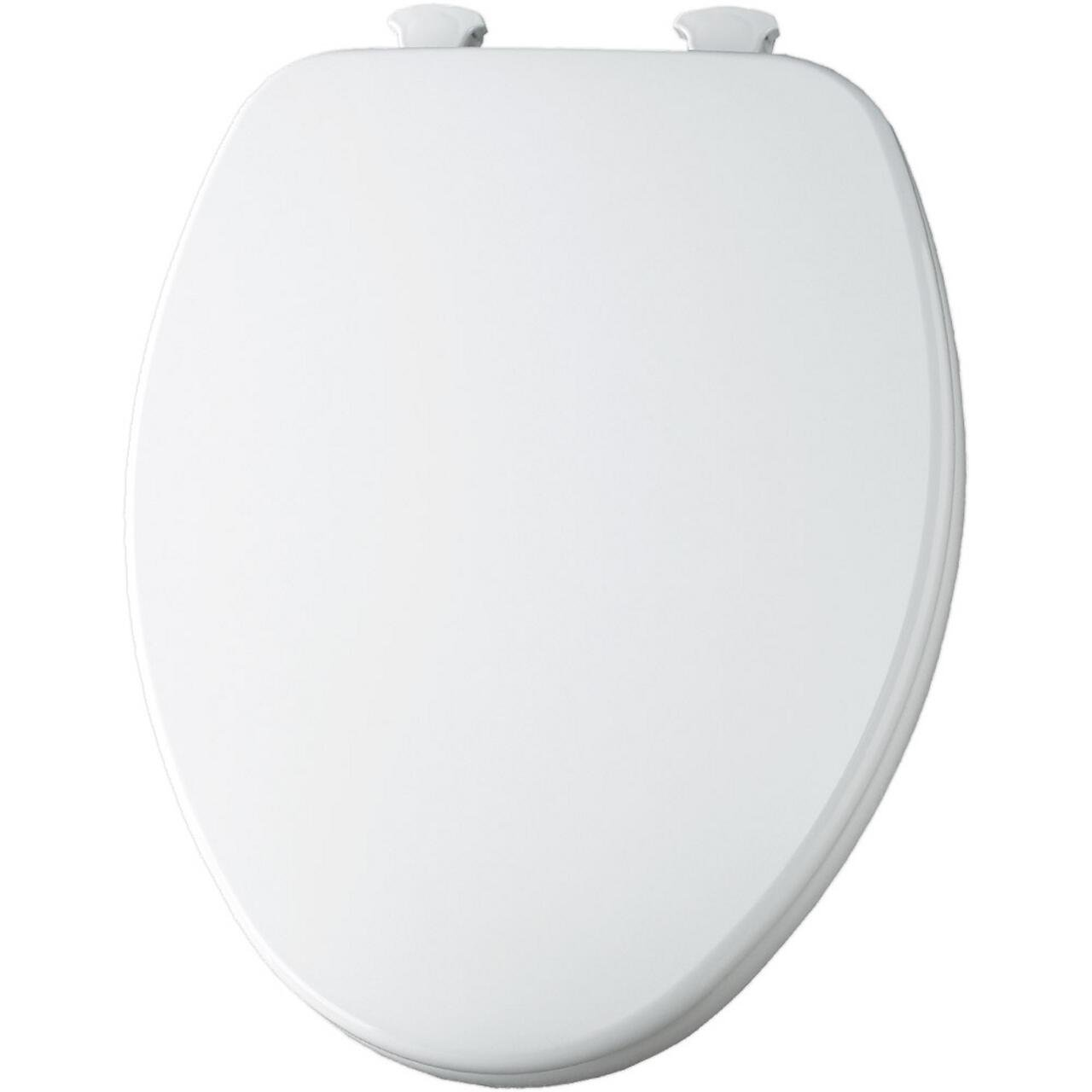 Church 585 White elongated closed front wood toilet seat with cover and Easy Clean Hinges by Church