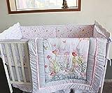 NAUGHTYBOSS Baby Bedding Set Cotton 3D Embroidery Bird Butterfly Branch Leaf Wild Flower Pattern Quilt Bumper Bedskirt Mattress Cover 7 Pieces Set