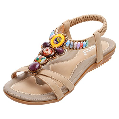 ZOEREA Women Sandals Shoes Flip Flops Ankle Strap Summer Sandals (7 B(M) US, Beaded Beige)