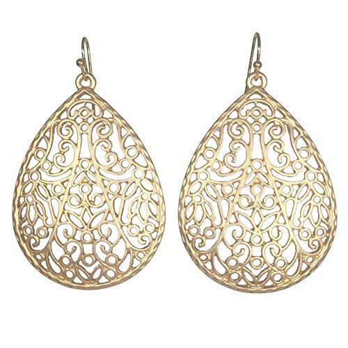 Filigree Teardrop Boutique Style Dangle Earrings (Matte Gold Tone) ()