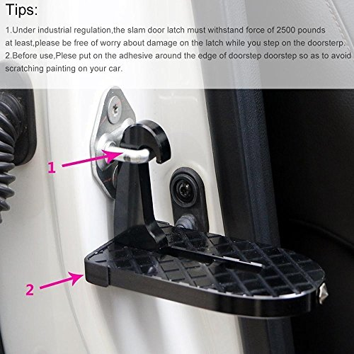 FOONEE Latch Doorstep, Car Doorstep With Safety Hammer Function/Car Folding Ladder for Easy Access to Car Rooftop Doorstep for Car/Jeep/SUV by FOONEE (Image #3)