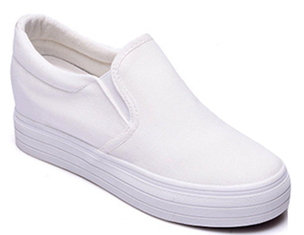 IDIFU Women's Heighten High Platform Canvas Shoes Slip On Sneakers White 8.5 B(M) US