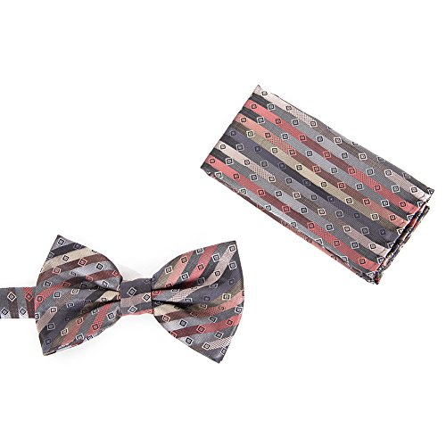 Brand Q Mens Bow Tie with Hanky - Multi-Stripe + Square Dots Salmon/Charcoal/Beige by Brand Q