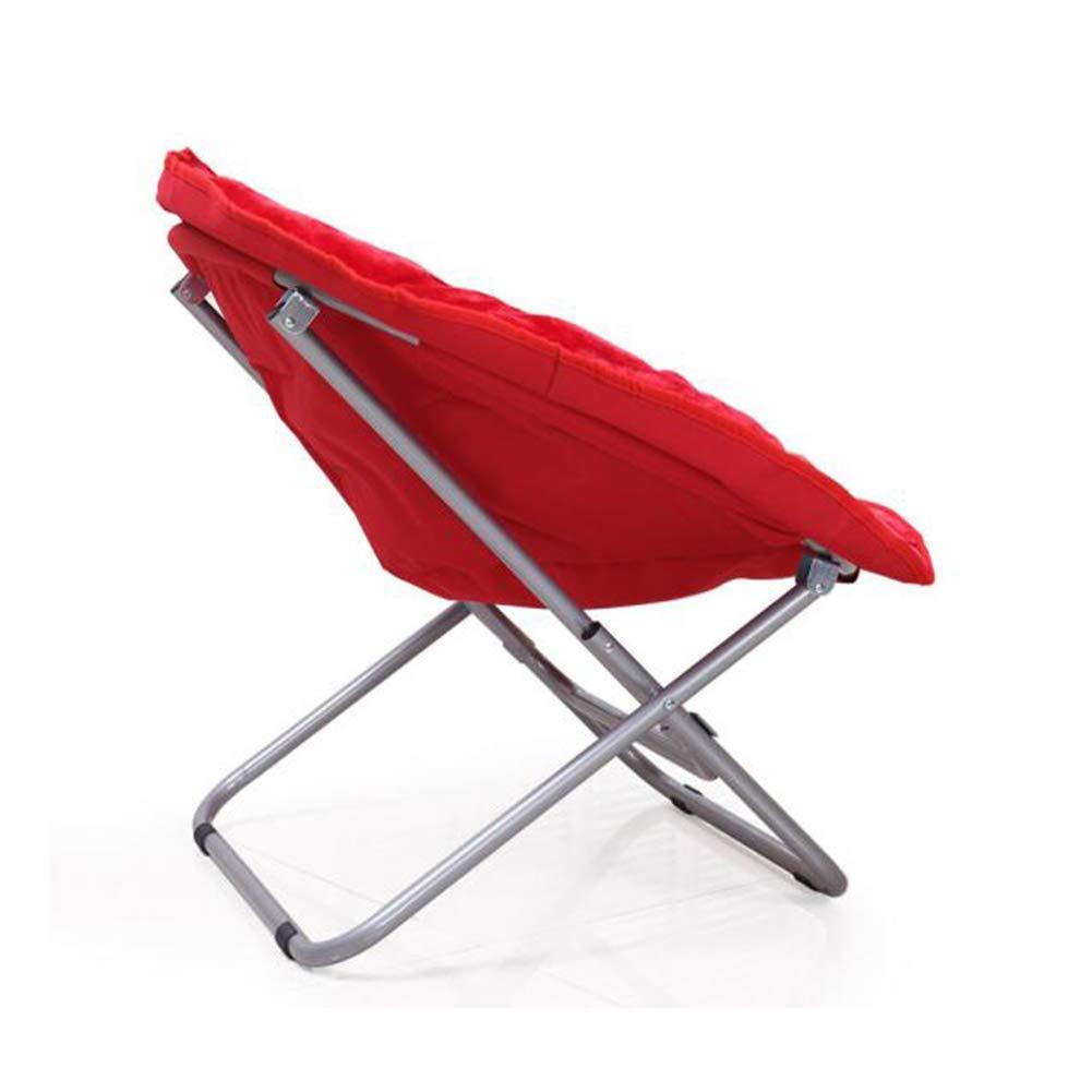 JJ Reclinabile Deck Chaise Pieghevole Divano Rotondo Moon Chair Acciaio PP Cotone Copertina Antiscivolo,A