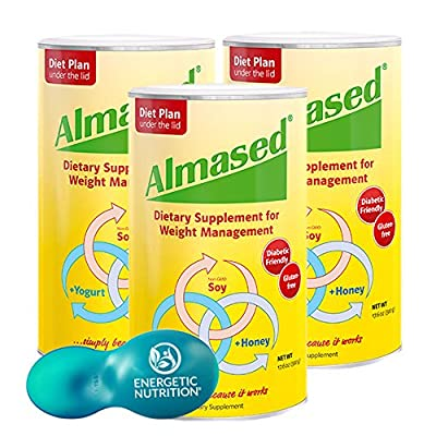 Almased Diet Protein Powder 3-pack (17.6 Ounce Each) with Energetic Multi-measure Scoop