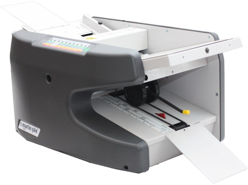 Martin Yale 1611 Ease-of-Use Paper Folding Machine, Operates at a speed of up to 9,000 sheets per hour, Feed table has a capacity of 150 sheets of 20lb bond paper
