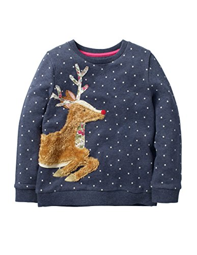 HUAER& Baby Girl Cotton Long Sleeved Pullover Sweatshirt (5T(Height:43inch/110cm), Dark Blue & Elk)