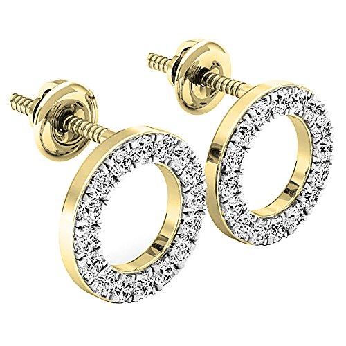 (0.50 Carat (ctw) 10K Yellow Gold Round Cut White Diamond Ladies Circle Shape Stud Earrings 1/2 CT)