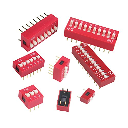 Luckkyme Double Row Dip Switch Assorted Kit Box Range 1 2 3 4 6 8 10 12 Positions 2.54mm Slide Type Red Toggle Switches (40Pcs red)