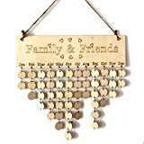 Family Calendar - YuQi DIY Friends Birthday Wooden Calender Home Decor with Disces