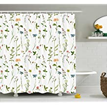 Floral Shower Curtain by Ambesonne, Spring Season Themed Watercolors Painting of Herbs Flowers Botanical Garden Artwork, Fabric Bathroom Decor Set with Hooks, 75 Inches Long, Multicolor
