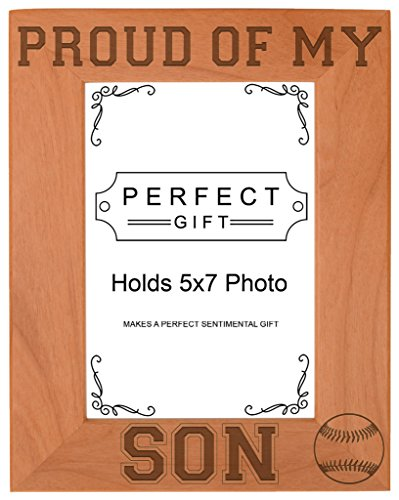 Baseball Dad Mom Gift Proud of my Son Natural Wood Engraved 5x7 Portrait Picture Frame Wood