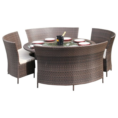 Amazon.de: Regent Gartenmöbel-Set für 8 Personen, rund, Rattan, für ...