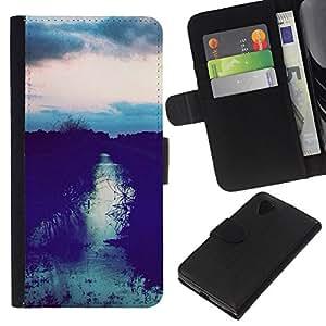 KLONGSHOP // Tirón de la caja Cartera de cuero con ranuras para tarjetas - Sunset Campo Después Sky Night View - LG Nexus 5 D820 D821 //