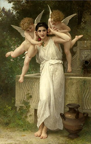 """William Bouguereau Youth ~ Jeunesse Private Collection 30"""" x 19"""" Fine Art Giclee Canvas Print Reproduction (Unframed)"""