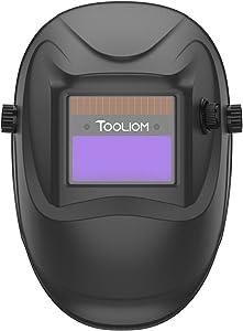 TOOLIOM Auto Darkening Welding Helmet,True Color 1/1/1/2 Battery Powered Welder Mask Hood,Wide Shade Range 4/9-13 for Grinding ARC MIG TIG Welding