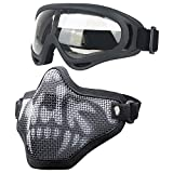 Airsoft Masks - Adjustable Half Metal Steel Mesh Face Mask and UV400 Goggles Set for Hunting, Paintball, Shooting