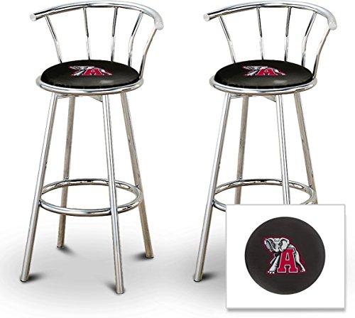 "2 24"" Alabama Crimson Tide Logo Themed Custom Specialty Chrome Bar Stools Swivel Seat Counter Height Bar Stools with Back Rest"