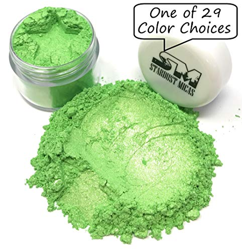 - Stardust Mica Pigment Dust Cosmetic Grade Colorant for Makeup, Soap Making Dye, Nail, DIY Crafting Projects, Bright True Colors Stable Mica Batch Consistency Green Jade