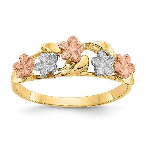 14k Tri Color Band Ring - 14k Tri Color Yellow White Gold Plumeria Band Ring Size 7.00 Flowers/leaf Fine Jewelry Gifts For Women For Her