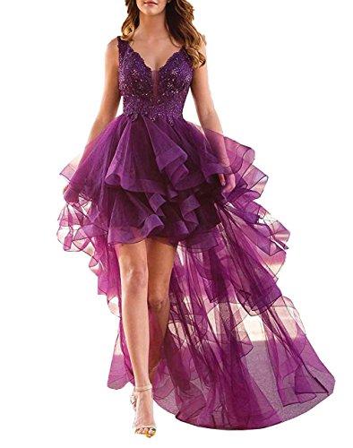 Mujeres Abalorios De Mangas Uva De De Largas De De Fiesta Flores Vestidos Formales Aurora 2018 Vestidos qvwwA4E