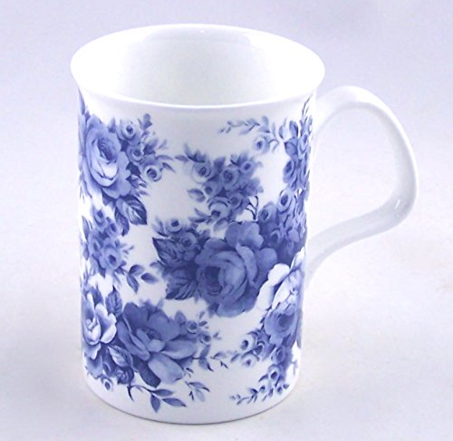 Fine Bone China Mug - Blue Rose Chintz - Roy Kirkham, England
