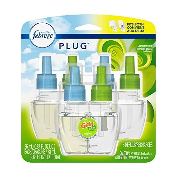 Febreze Plug In Air Freshener Scented 1 Cleans away odors-rather than just masks them-and leaves behind a light, fresh scent Get 1200 hours of Febreze freshness (on low setting) from one Febreze PLUG odor eliminator refill (that's 72, 000 minutes!) Febreze PLUG (formerly Febreze NOTICEables) air freshener refills are compatible with all versions of Febreze plug warmers