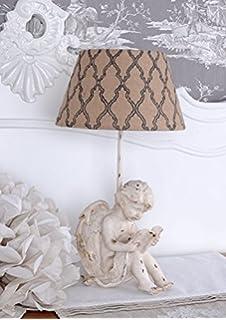 Lampe Engeldekor aus Porzellan weiß