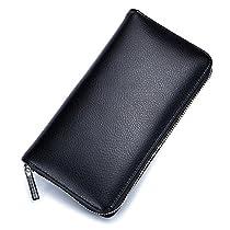 JOSEKO Card Holder, RFID Antimagnetic Genuine Leather 36 Card Slots 6 inch Phone Bag Card Holder Long Wallet Light Blue