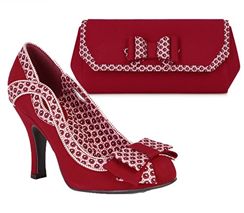 Pumps Matching Court Ivy Bag Shoe Women's Ruby amp; Red Bow Brighton White Shoo a8TwqY