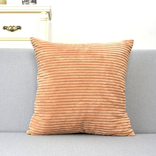 Natus Weaver Sommer Decor Striped Velvet Cushion Cover Supersoft Handmade Pillowcase 18 x18 Taupe