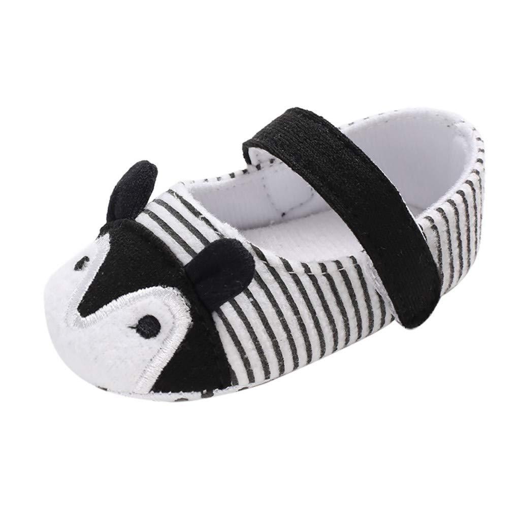 NUWFOR Infant Newborn Baby Girls Prewalker Cartoon Animal Ears Soft Sole Single Shoes(Black,0~6 Month)