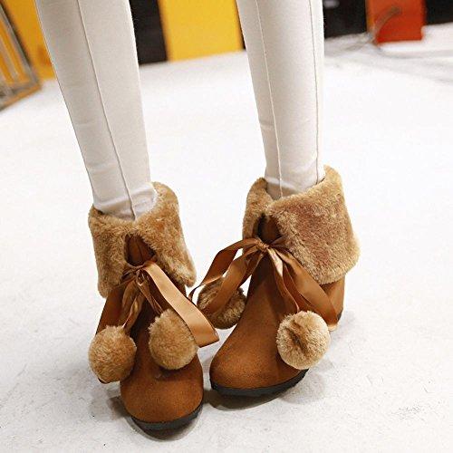 Show Shine Damesmode Pom Poms Verborgen Sleehak Snowboots Bruin
