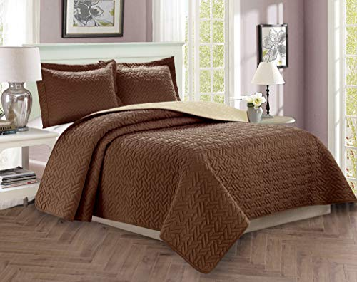 Majestic King Sham - Elegant Comfort Luxury 3-Piece Bedspread Coverlet Majestic Design Quilted Set with Shams All All Season Heavy Weight- Hypoallergenic- Wrinkle & Fade Resistant, King/California King, Chocolate/Cream